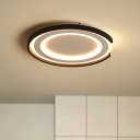 Black and White Round Ceiling Light Modern Chic Metallic LED Flushmount for Coffee Shop