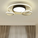 Round Shade LED Ceiling Light with Rings Simplicity Metal Lighting Fixture in Warm/White