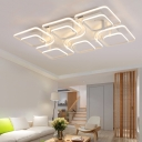 Super-thin Ceiling Fixture with Geometric Pattern Post Modern Acrylic 12-LED Semi Flush Light
