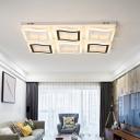 Ultra Thin LED Semi Flushmount with Geometric Pattern Contemporary Acrylic Semi Flush Ceiling Light
