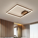 Single Square Frame LED Ceiling Light with Acrylic Shade Minimalist Flush Mount in Brown