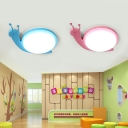 Acrylic Snail LED Flush Mount Kindergarten Children Room Ceiling Fixture in Blue/Pink