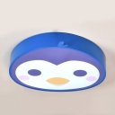 Blue Penguin Flush Light Fixture Acrylic Eye Protection LED Flush Mount for Baby Kids Room