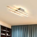 3/6 Lights Bar Flush Mount Lighting Contemporary Metallic LED Flush Light in White for Dining Room