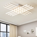 Modern Linear Ceiling Flush Mount Acrylic 6/8/10/12 Lights LED Flush Light in White