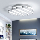White Curve Bar Semi Flush Light Simplicity Metal LED Ceiling Fixture for Hallway Corridor