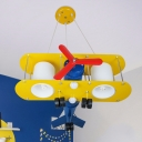 Metallic Biplane Chandelier Lamp with Cylinder Shade Boys Room 2 Heads Suspended Light in Yellow