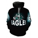 New Stylish 3D Eagle Pattern Blue Long Sleeve Drawstring Hoodie with Pocket