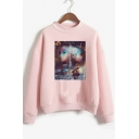 Popular American Singer Figure Mock Neck Long Sleeve Pullover Sweatshirt