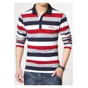 Men's Simple Letter Embroidered Classic Striped Cotton Long Sleeve Polo