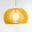 Wooden Dome Suspension Light Simplicity Single Head Hanging Ceiling Lamp for Living Room