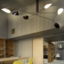 Modern Chic Linear Lamp Light Rotatable Metallic 6 Lights Decorative Chandelier Lamp in Black