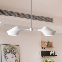 White Linear Hanging Light with Metal Shade Nordic Style 2 Lights Art Deco Indoor Lighting Fixture