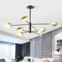 Metallic 2 Tiers Hanging Chandelier with Silver Round Disc Shade Contemporary 8 Heads Lamp Light