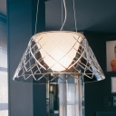Nordic Style Tapered Pendant Lamp with Textured Glass Shade Decorative Single Head Hanging Light