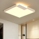 Acrylic Shade Squared LED Flush Mount Contemporary Ceiling Fixture in White for Hallway