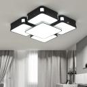 Black Cube LED Ceiling Lamp Modern Chic Metallic Surface Mount Ceiling Light in Black for Bedroom