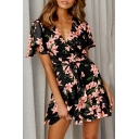 Summer Retro Floral Pattern Short Sleeve V-Neck Tied Waist Mini A-Line Dress