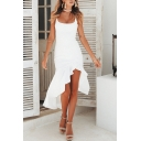 Women's Fashion Ruffled Hem Simple Plain Square Neck High Low Hem Slip Dress