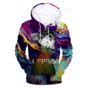 American Rapper 3D Figure Painting Printed Long Sleeve Pullover Drawstring Hoodie