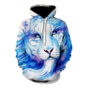 Unique 3D Cool Painting Tiger Long Sleeve Loose Fit Blue Hoodie