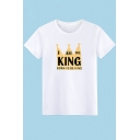 Cool Crown Letter I AM THE KING Basic Short Sleeve Round Neck Cotton T-Shirt