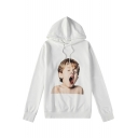 Hip Hop Style Yawn Boy Print Loose Fit Unisex White Drawstring Hoodie