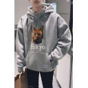Cat Letter TOKYO Sport Casual Long Sleeve Oversized Pullover Hoodie