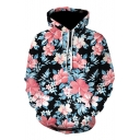 Fashion 3D Floral Pattern Long Sleeve Black Drawstring Hoodie