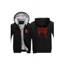 American Rapper Purpose Letter Printed Warm Thick Zip Front Fitted Hoodie