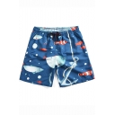 Summer Fashion Tropical Fish Printed Drawstring Waist Quick-Dry Blue Swim Trunks for Men