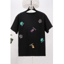 Summer New Fashion Cartoon Animal Letter Embroidered Short Sleeve Black T-Shirt