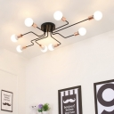 Black Armed Ceiling Flush Mount Industrial Simplicity Metallic Multi Light Interior Lights with Open Bulb
