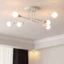 6/8 Heads Open Bulb Semi Flush Mount with White Linear Armed Minimalist Metal Ceiling Fixture