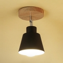 Black/White Coolie Shade Semi Flushmount Nordic Modern 1 Light Mini Semi Flush Light Fixture with Wooden Canopy