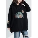 Cute Cartoon Pattern Long Sleeve Casual Loose Pullover Black Drawstring Hoodie