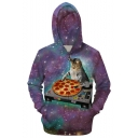 Cool 3D Pizza DJ Cat Galaxy Print Long Sleeve Full Zip Fitted Purple Hoodie