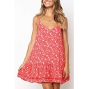 Summer Fashion Floral Pattern Ruffled Hem Red Mini Swing Cami Dress