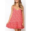 Summer Fashion Floral Pattern Ruffled Hem Red Mini Swing Cami Dress