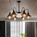 Retro Style Coolie Hanging Ceiling Lamp Steel 6 Lights Chandelier Lamp in Black