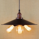 Rust Finish Flared Chandelier Industrial Steel 3 Heads Decorative Suspension Light