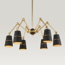 Swing Arm Suspension Light with Conical Shade Modern Vintage Iron 6 Lights Chandelier in Brass