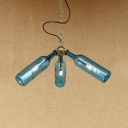 Antique Brass Bottle Suspension Light Industrial Loft Style Glass Shade 3 Bulbs Lamp Light