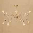 Multi Light Abstract Chandelier Vintage Industrial Adjustable Metallic Suspended Light in Gold