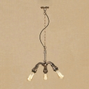 3 Lights Bare Bulb Chandelier Lamp Vintage Metal Suspension Light in Antique Bronze for Hallway