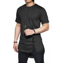 Men's Simple Plain Unique Zip Closure Side Dipped Hem Cotton Longline T-Shirt