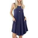 Summer Basic Round Neck Sleeveless Simple Plain Midi Swing Dress with Pocket