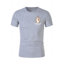 Fashion Heart Gesture Letter Print Chest Short Sleeve Round Neck Classic-Fit Cotton T-Shirt