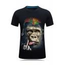 Cool 3D Skull Gorilla Printed Men Basic Short Sleeve Fitted T-Shirt