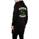 Trendy Snake Logo Printed Back Zip Closure Side Hipster Long Hoodie in Black